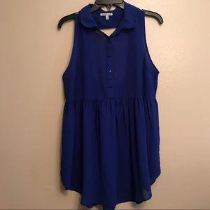 Blue Charlotte Russe Babydoll style sheer tank top